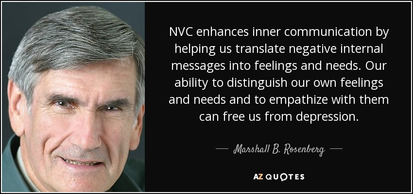 NVC enhances inner communication by helping us translate negative internal messages into feelings and needs. Our ability to distinguish our own feelings and needs and to empathize with them can free us from depression. - Marshall B. Rosenberg