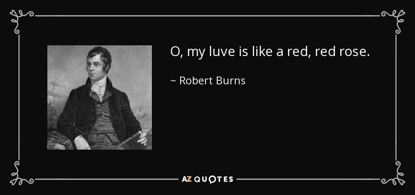 O, my luve is like a red, red rose. - Robert Burns