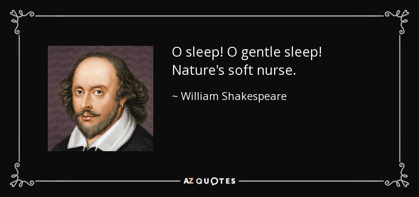 O sleep! O gentle sleep! Nature's soft nurse. - William Shakespeare