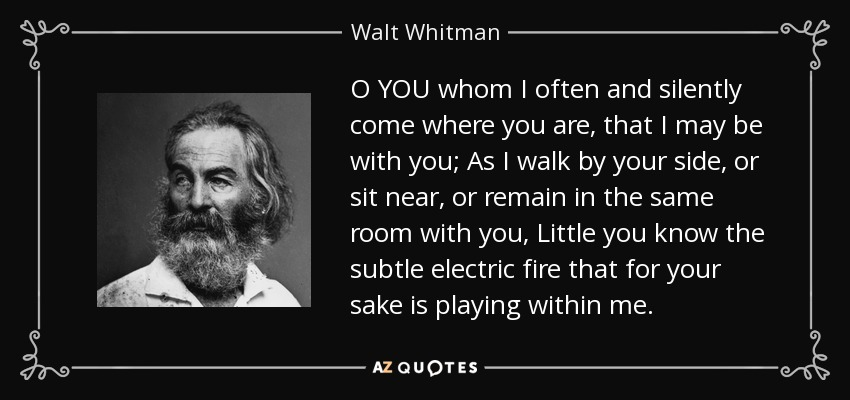 O YOU whom I often and silently come where you are, that I may be with you; As I walk by your side, or sit near, or remain in the same room with you, Little you know the subtle electric fire that for your sake is playing within me. - Walt Whitman