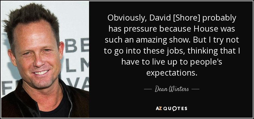 Obviously, David [Shore] probably has pressure because House was such an amazing show. But I try not to go into these jobs, thinking that I have to live up to people's expectations. - Dean Winters
