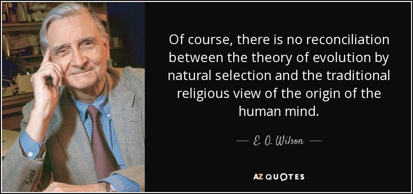 Of course, there is no reconciliation between the theory of evolution by natural selection and the traditional religious view of the origin of the human mind. - E. O. Wilson