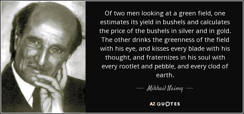 Of two men looking at a green field, one estimates its yield in bushels and calculates the price of the bushels in silver and in gold. The other drinks the greenness of the field with his eye, and kisses every blade with his thought, and fraternizes in his soul with every rootlet and pebble, and every clod of earth. - Mikhail Naimy