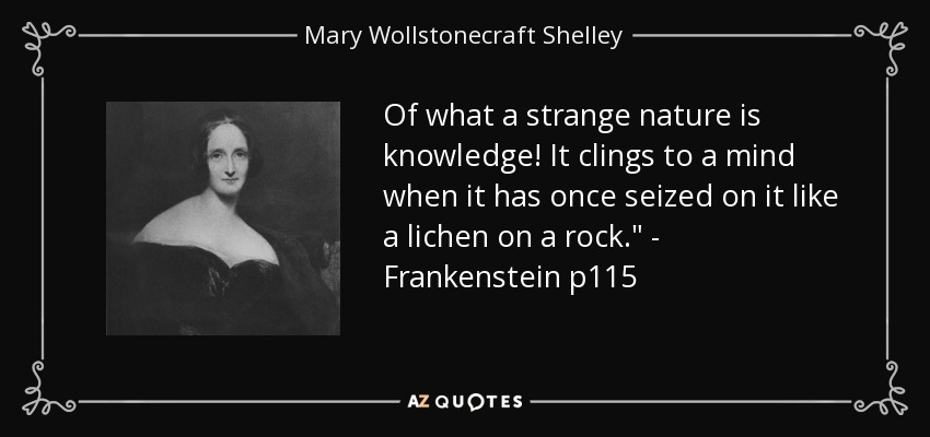 Of what a strange nature is knowledge! It clings to a mind when it has once seized on it like a lichen on a rock.