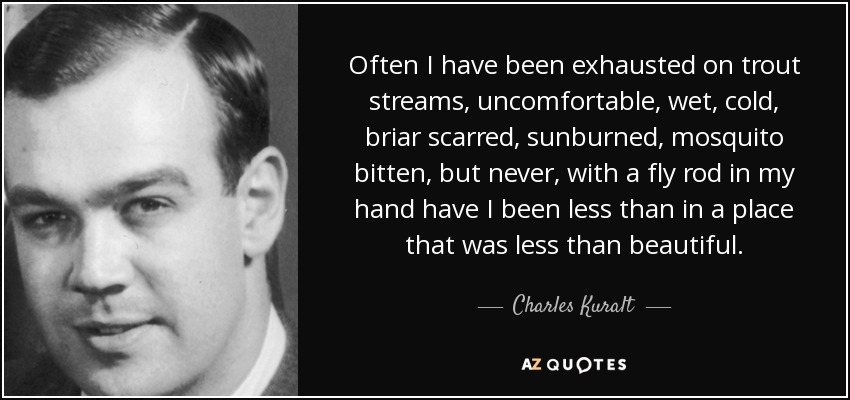 Often I have been exhausted on trout streams, uncomfortable, wet, cold, briar scarred, sunburned, mosquito bitten, but never, with a fly rod in my hand have I been less than in a place that was less than beautiful. - Charles Kuralt