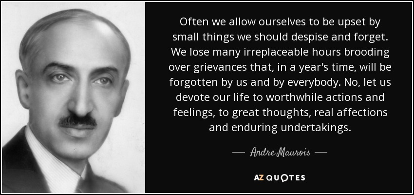 Often we allow ourselves to be upset by small things we should despise and forget. We lose many irreplaceable hours brooding over grievances that, in a year's time, will be forgotten by us and by everybody. No, let us devote our life to worthwhile actions and feelings, to great thoughts, real affections and enduring undertakings. - Andre Maurois