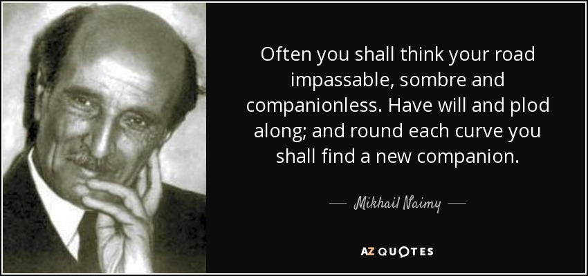 Often you shall think your road impassable, sombre and companionless. Have will and plod along; and round each curve you shall find a new companion. - Mikhail Naimy