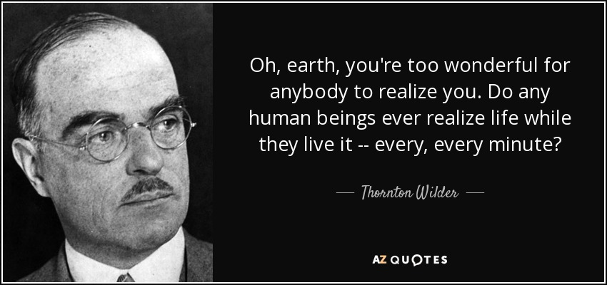 Oh, earth, you're too wonderful for anybody to realize you. Do any human beings ever realize life while they live it -- every, every minute? - Thornton Wilder