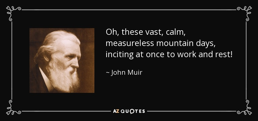 Oh, these vast, calm, measureless mountain days, inciting at once to work and rest! - John Muir