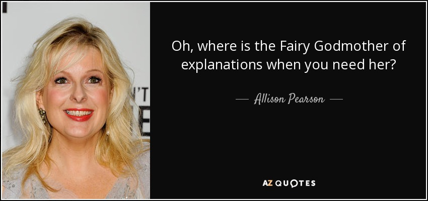 Oh, where is the Fairy Godmother of explanations when you need her? - Allison Pearson