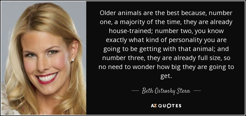 Older animals are the best because, number one, a majority of the time, they are already house-trained; number two, you know exactly what kind of personality you are going to be getting with that animal; and number three, they are already full size, so no need to wonder how big they are going to get. - Beth Ostrosky Stern