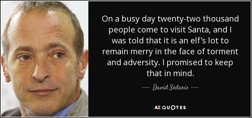 On a busy day twenty-two thousand people come to visit Santa, and I was told that it is an elf's lot to remain merry in the face of torment and adversity. I promised to keep that in mind. - David Sedaris