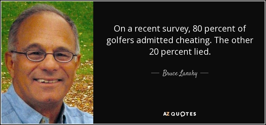 On a recent survey, 80 percent of golfers admitted cheating. The other 20 percent lied. - Bruce Lansky