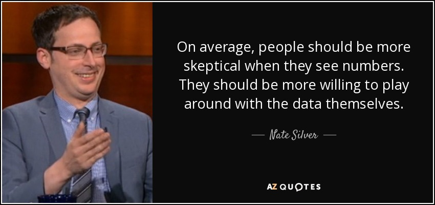 On average, people should be more skeptical when they see numbers. They should be more willing to play around with the data themselves. - Nate Silver