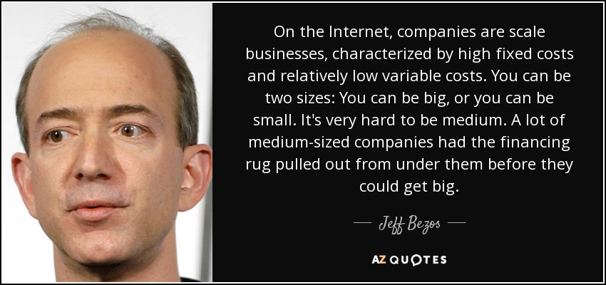 On the Internet, companies are scale businesses, characterized by high fixed costs and relatively low variable costs. You can be two sizes: You can be big, or you can be small. It's very hard to be medium. A lot of medium-sized companies had the financing rug pulled out from under them before they could get big. - Jeff Bezos