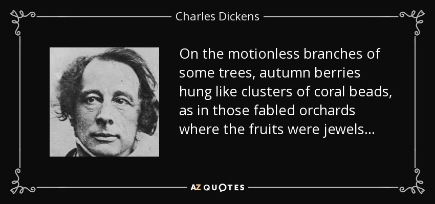 On the motionless branches of some trees, autumn berries hung like clusters of coral beads, as in those fabled orchards where the fruits were jewels . . . - Charles Dickens