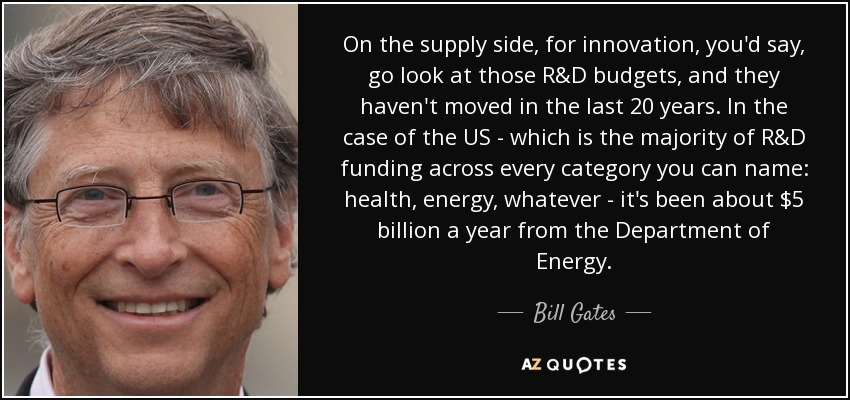 On the supply side, for innovation, you'd say, go look at those R&D budgets, and they haven't moved in the last 20 years. In the case of the US - which is the majority of R&D funding across every category you can name: health, energy, whatever - it's been about $5 billion a year from the Department of Energy. - Bill Gates