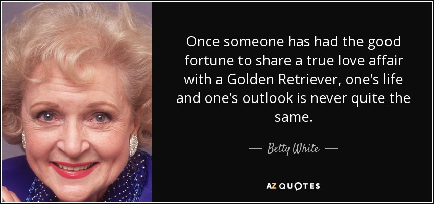 Once someone has had the good fortune to share a true love affair with a Golden Retriever, one's life and one's outlook is never quite the same. - Betty White