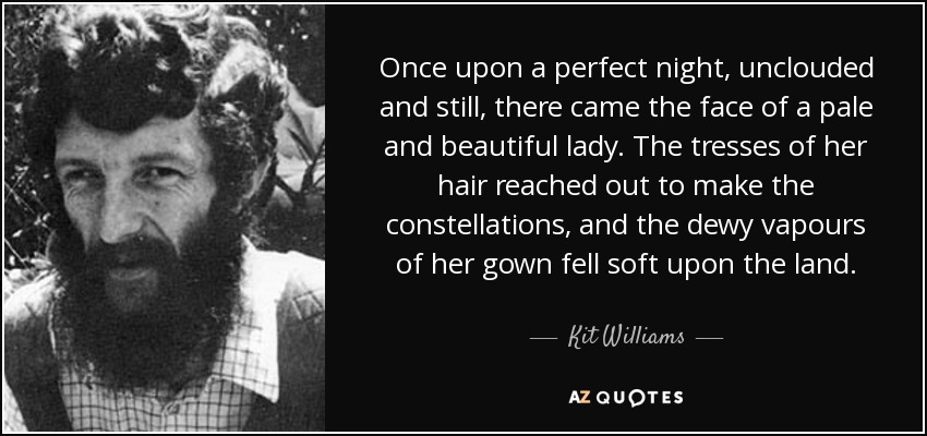 Once upon a perfect night, unclouded and still, there came the face of a pale and beautiful lady. The tresses of her hair reached out to make the constellations, and the dewy vapours of her gown fell soft upon the land. - Kit Williams
