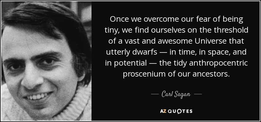 Once we overcome our fear of being tiny, we find ourselves on the threshold of a vast and awesome Universe that utterly dwarfs — in time, in space, and in potential — the tidy anthropocentric proscenium of our ancestors. - Carl Sagan