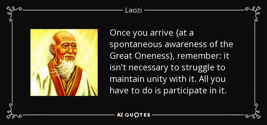 Once you arrive {at a spontaneous awareness of the Great Oneness}, remember: it isn't necessary to struggle to maintain unity with it. All you have to do is participate in it. - Laozi