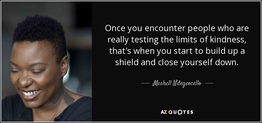 Once you encounter people who are really testing the limits of kindness, that's when you start to build up a shield and close yourself down. - Meshell Ndegeocello