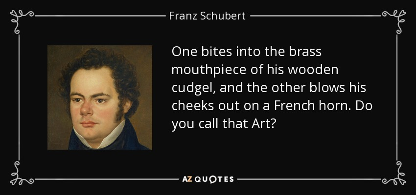One bites into the brass mouthpiece of his wooden cudgel, and the other blows his cheeks out on a French horn. Do you call that Art? - Franz Schubert