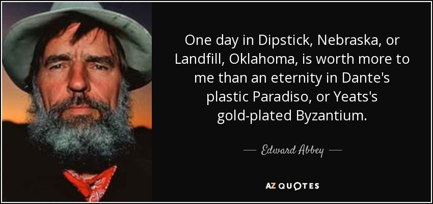One day in Dipstick, Nebraska, or Landfill, Oklahoma, is worth more to me than an eternity in Dante's plastic Paradiso, or Yeats's gold-plated Byzantium. - Edward Abbey