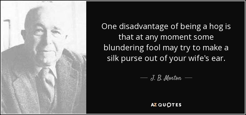 One disadvantage of being a hog is that at any moment some blundering fool may try to make a silk purse out of your wife's ear. - J. B. Morton