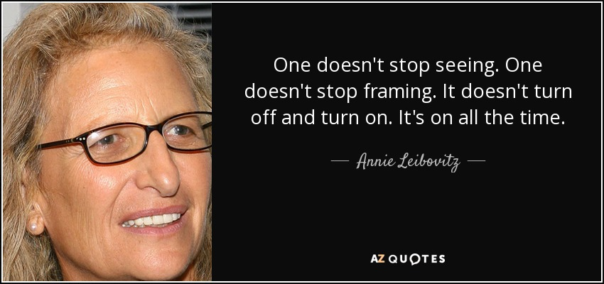 One doesn't stop seeing. One doesn't stop framing. It doesn't turn off and turn on. It's on all the time. - Annie Leibovitz