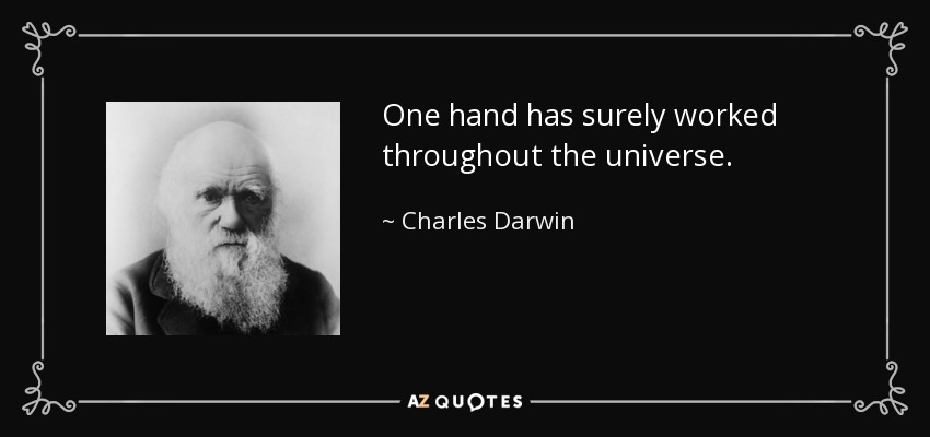 One hand has surely worked throughout the universe. - Charles Darwin