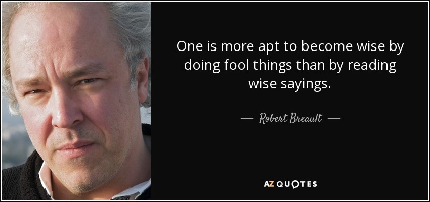 One is more apt to become wise by doing fool things than by reading wise sayings. - Robert Breault