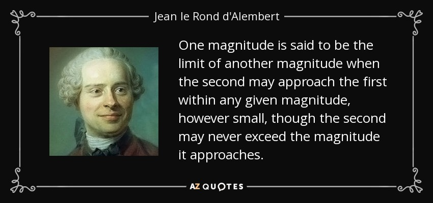 One magnitude is said to be the limit of another magnitude when the second may approach the first within any given magnitude, however small, though the second may never exceed the magnitude it approaches. - Jean le Rond d'Alembert