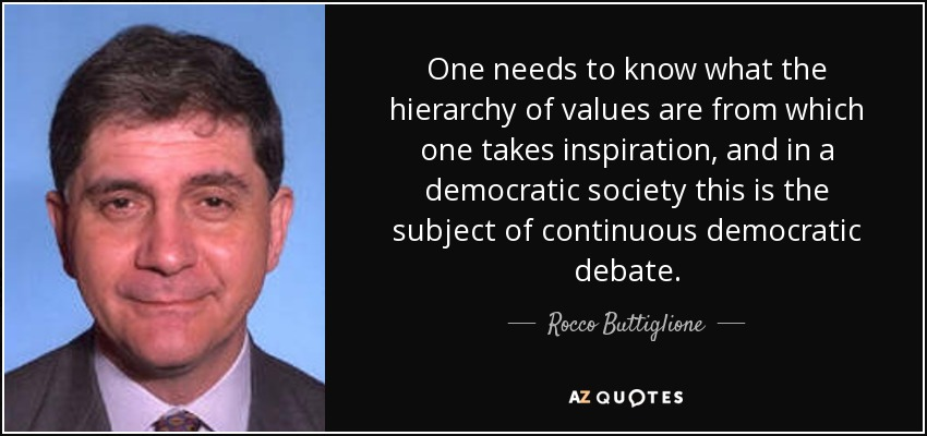 One needs to know what the hierarchy of values are from which one takes inspiration, and in a democratic society this is the subject of continuous democratic debate. - Rocco Buttiglione