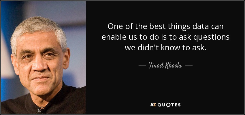 One of the best things data can enable us to do is to ask questions we didn't know to ask. - Vinod Khosla