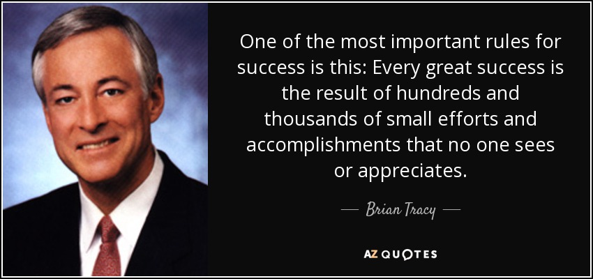 One of the most important rules for success is this: Every great success is the result of hundreds and thousands of small efforts and accomplishments that no one sees or appreciates. - Brian Tracy