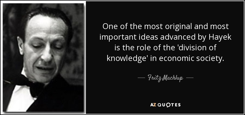 One of the most original and most important ideas advanced by Hayek is the role of the 'division of knowledge' in economic society. - Fritz Machlup
