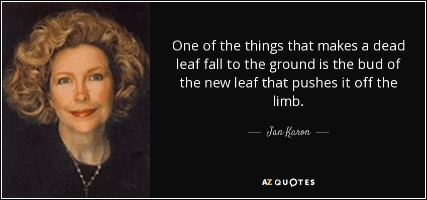 One of the things that makes a dead leaf fall to the ground is the bud of the new leaf that pushes it off the limb. - Jan Karon
