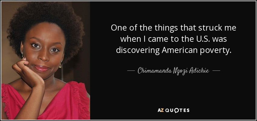 One of the things that struck me when I came to the U.S. was discovering American poverty. - Chimamanda Ngozi Adichie
