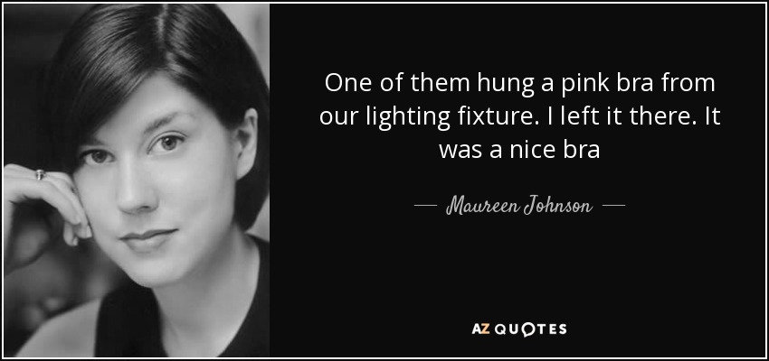 One of them hung a pink bra from our lighting fixture. I left it there. It was a nice bra - Maureen Johnson
