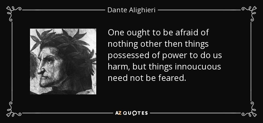 One ought to be afraid of nothing other then things possessed of power to do us harm, but things innoucuous need not be feared. - Dante Alighieri