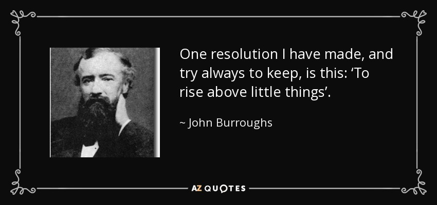 One resolution I have made, and try always to keep, is this: 'To rise above little things'. - John Burroughs