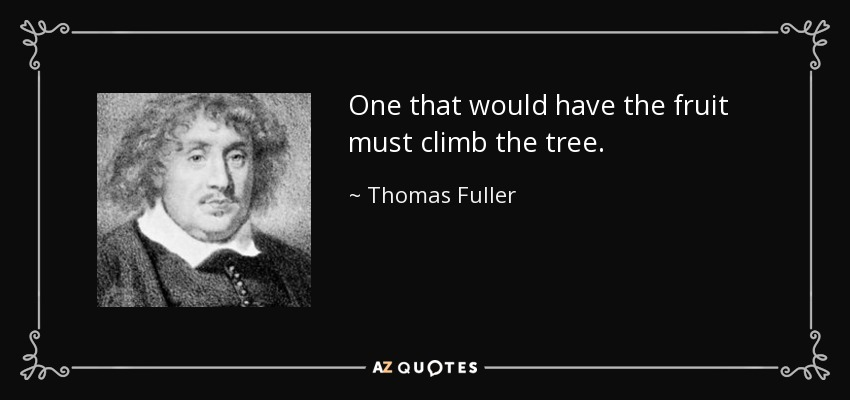 One that would have the fruit must climb the tree. - Thomas Fuller