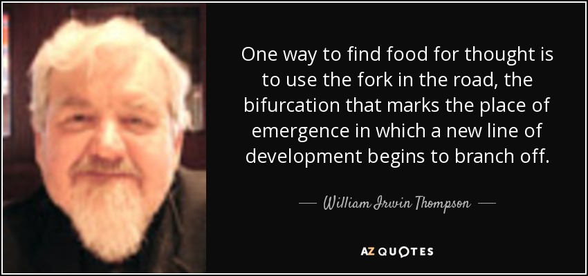 One way to find food for thought is to use the fork in the road, the bifurcation that marks the place of emergence in which a new line of development begins to branch off. - William Irwin Thompson
