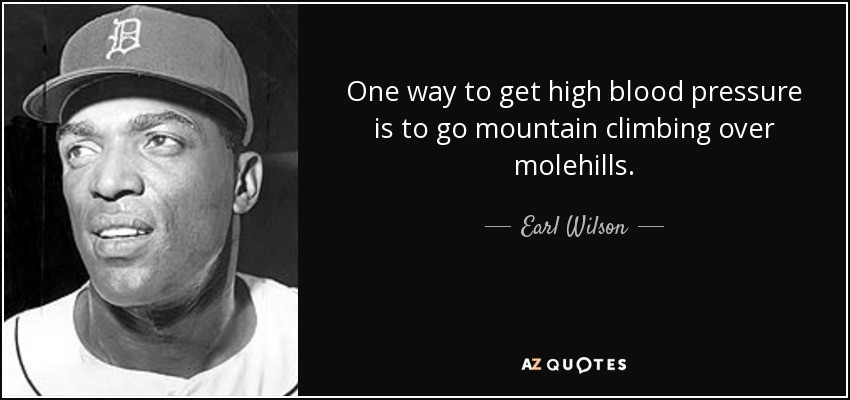 One way to get high blood pressure is to go mountain climbing over molehills. - Earl Wilson