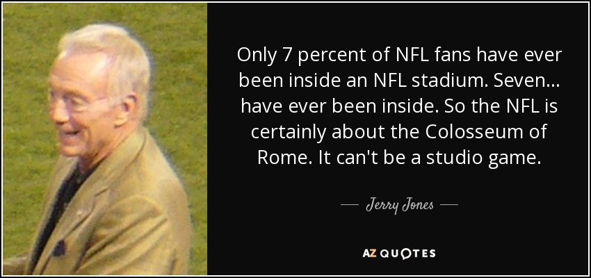 Only 7 percent of NFL fans have ever been inside an NFL stadium. Seven... have ever been inside. So the NFL is certainly about the Colosseum of Rome. It can't be a studio game. - Jerry Jones