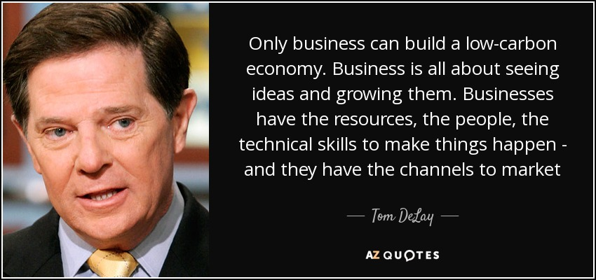 Only business can build a low-carbon economy. Business is all about seeing ideas and growing them. Businesses have the resources, the people, the technical skills to make things happen - and they have the channels to market - Tom DeLay