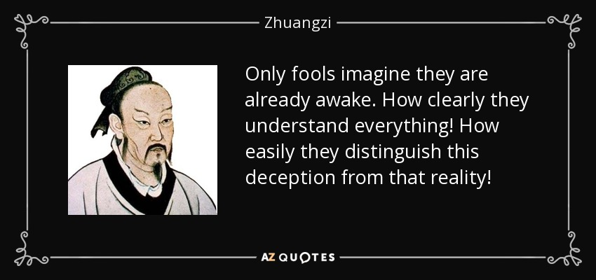 Only fools imagine they are already awake. How clearly they understand everything! How easily they distinguish this deception from that reality! - Zhuangzi