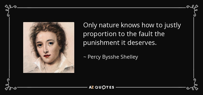 Only nature knows how to justly proportion to the fault the punishment it deserves. - Percy Bysshe Shelley