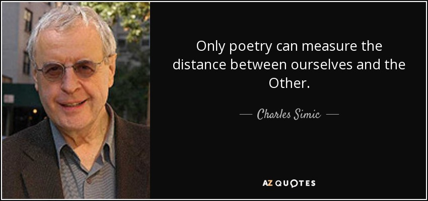 Only poetry can measure the distance between ourselves and the Other. - Charles Simic